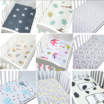 100% Cotton Crib Fitted Sheet Soft Breathable Baby Bed