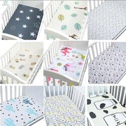 100% хлопок, простыня для кроватки, мягкий дышащий матрас для детской кровати, покрывало с рисунком, для новорожденных, постельные принадлежн...