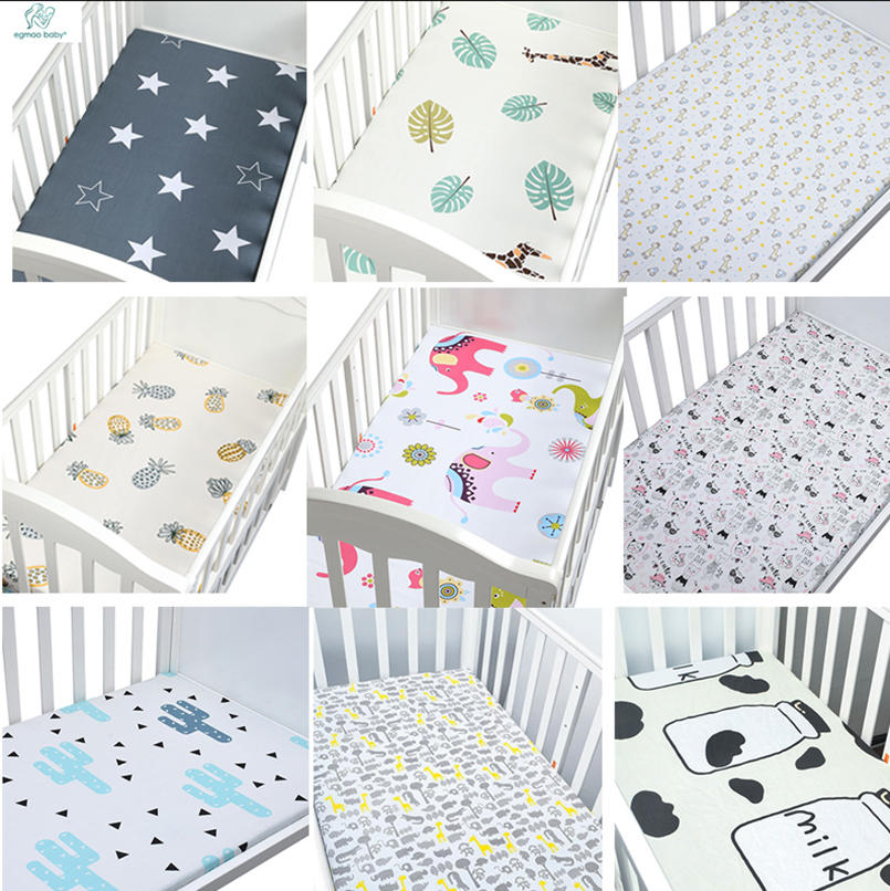 100% Cotton Crib Fitted Sheet Soft Breathable Baby Bed Mattress Cover Cartoon Newborn Bedding For Co