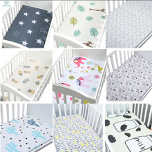 100% Cotton Crib Fitted Sheet Soft Breathable Baby Bed Mattress Cover Cartoon Newborn Bedding For Cot Size 130*70cm/105*60(China)