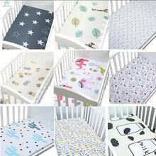 100% algodón cuna equipada hoja suave transpirable bebé colchón de la cama cubierta Potector de dibujos animados bebé recién nacido Ropa de cama cuna tamaño 130*70 cm