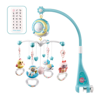0 18 Months Educational Crib Bed Bell Rotating Music Box Projection Play Stroller Baby Rattle Remote Control Mobiles Comfort Toy