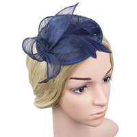 Navy Ivory Black Flower Sinamay Feather Fascinator Women Fedoras Party Hat Hair Clip Accessories Cocktail Royal Ascot Headdress