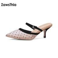 ZawsThia 2018 estate mesh net pelle di pecora polka dot point toe sexy scivola pantofole donna gattino di alta tacco muli scarpe da donna pompe