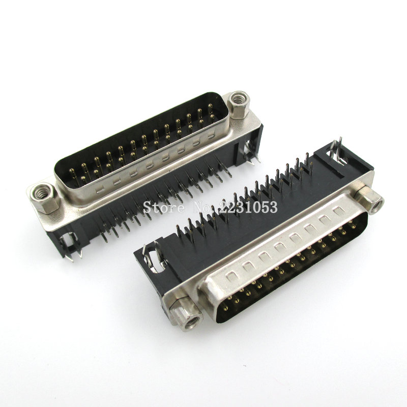 5PCS/LOT D-SUB DB25 DR25 25pins Male Plug Solder Type Welding Connector DIY