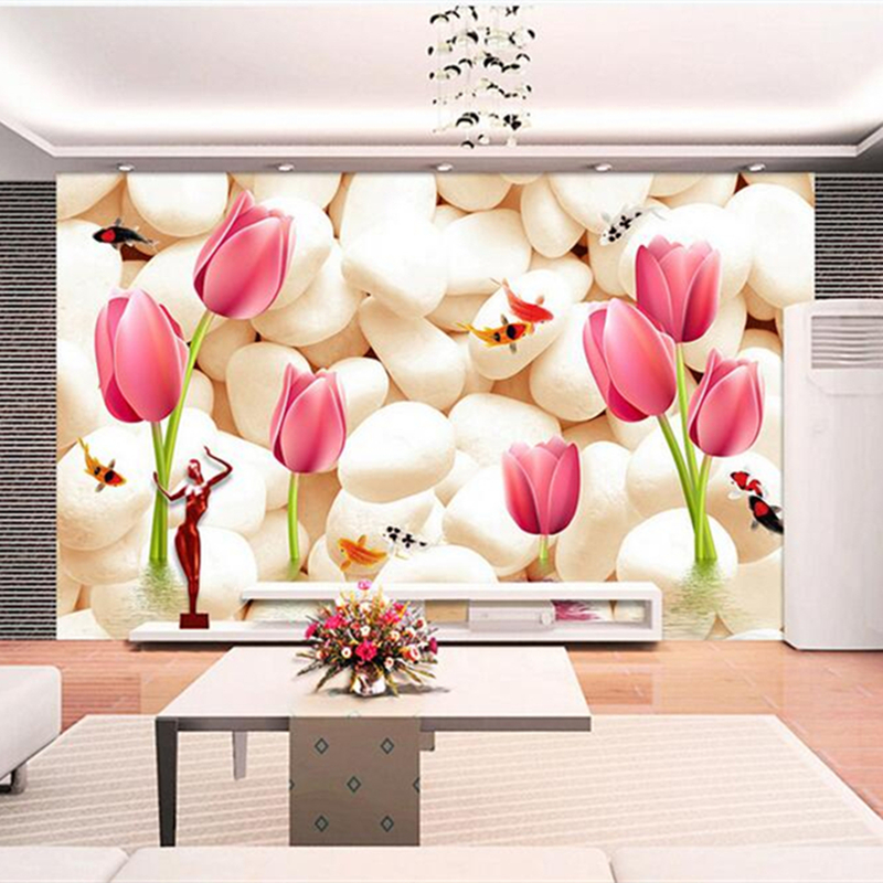 3D Nature Wall Murals Pink Flowers Wallpapers Modern Marble Luxury Wall Papers Home Decor For Living Room Stone Wallpapers 3D circle mirror photo wallpapers 3d modern abstract murals wall papers home decor wallpapers for living room wall paste wall mural