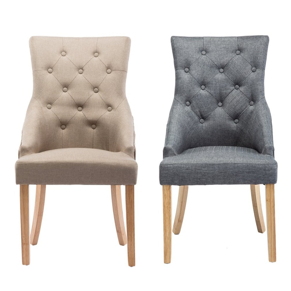 2 PCS Linen Fabric Soild Wood Dining Chairs High Back Office Lounge Chair Padded Seat Home Chairs Kitchen Dining Room Furniture цена 2017