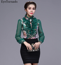 Plus size 2017 women spring summer Korean style fashion floral print ruffled short casual work blouse shirt 8803
