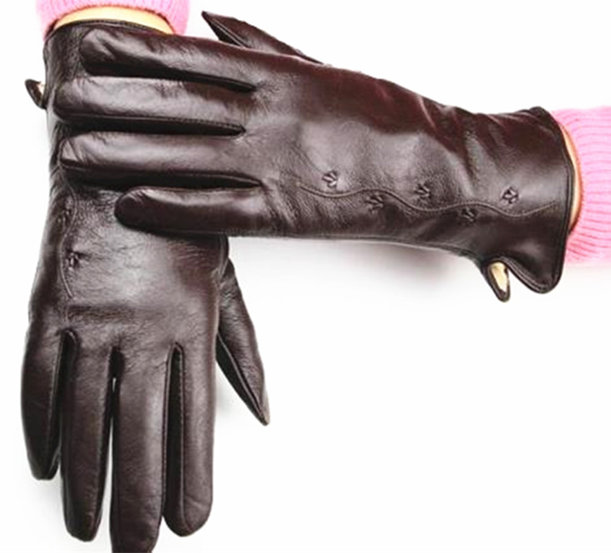 Leather Gloves Women's Fashion Chain Flower Style Multiple Colors Fleece Lining Autumn Warmth Ms. Sheepskin Finger Gloves