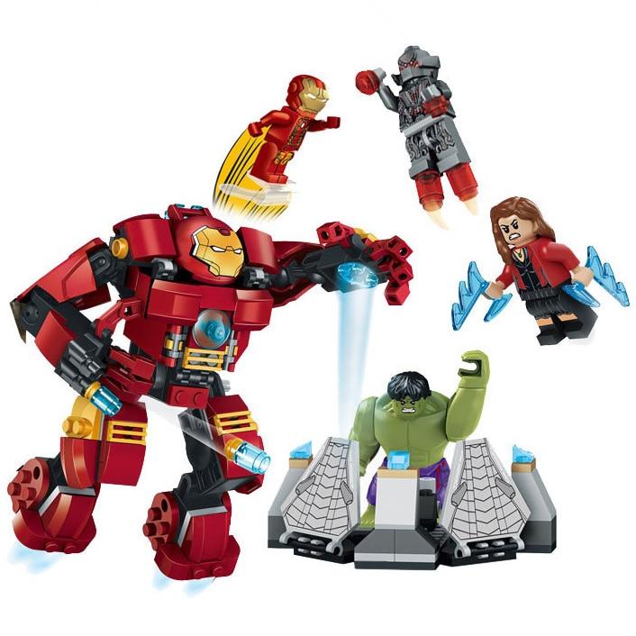 Super Hero Figure Set 304pcs Bricks Avengers Age Of Ultron Iron Man Assemble Hulk Buster Building Blocks Kits Toys XH8019 [bainily]511pcs superheroes space station iron man base attack on avengers tower model diy building blocks bricks toys