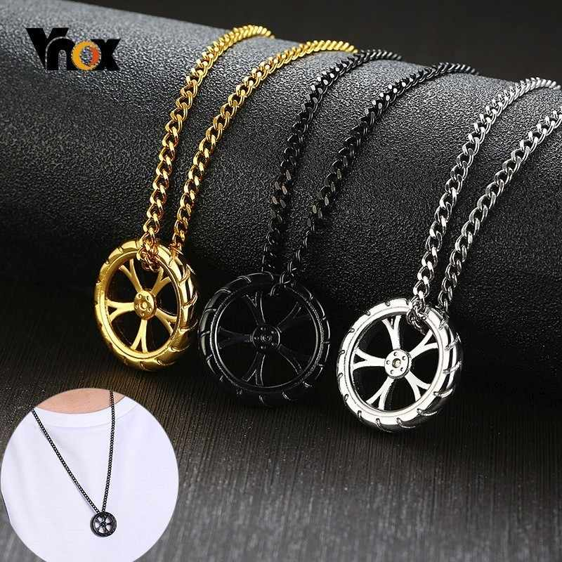 "Vnox Design Tire Pendant for Men Women Stylish Punk Stainless Steel Necklaces Auto Car Lover Accessory with 24"" Curb Chain"