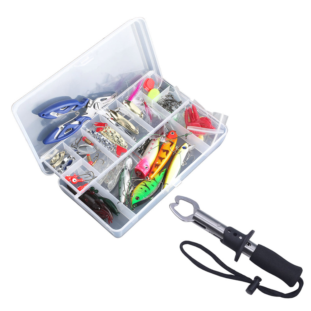 100 pcs Fishing Lure Kit Mixed Minnow/Popper Spinner Spoon Lure With Hook Isca Artificial Bait Set + Fishing Gripper ALS 1pcs fishing lure bait minnow with treble hook isca artificial bass fishing tackle sea japan fishing lure 3d eyes