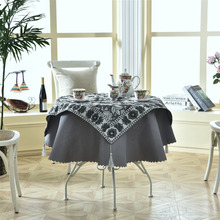Latest 2 pcs/set Round 140cm Luxury Enbroidery Table Linens Fashion Elegant Black Sliver Cloth Table Decor Accessories 2 feet passive crystal sliver 18 pcs