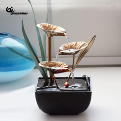 European Style Synthetic Resin Waterproof Fountain Desk Office Ornaments Living Room Geomantic Fengshui Wheel Home Decor