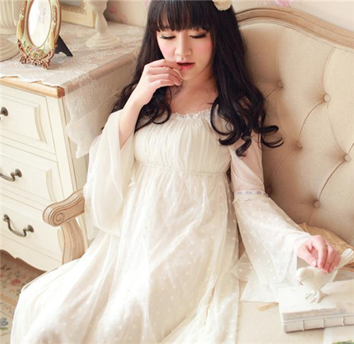 Vintage Sleepwear Modal Lining Nightgown  Princess Design Nightgown Long Lace Nightdress