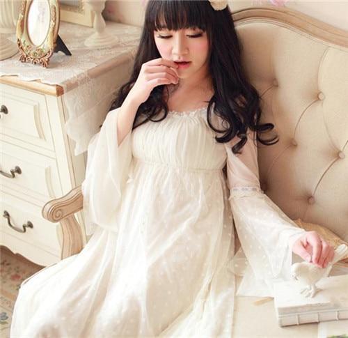 Vintage Sleepwear Modal Lining Nightgown  Princess Design Nightgown Long Lace Nightdress