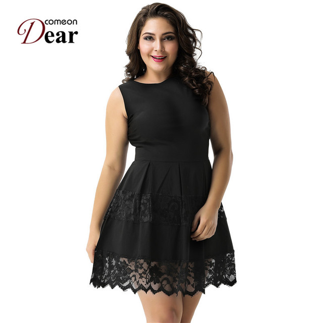 Comeondear A80049 1 Summer Black Women Lace Dress Sleeveless