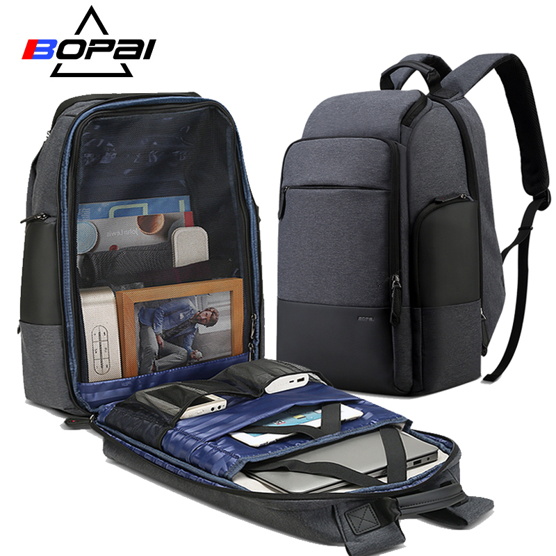 BOPAI 17inch Laptop Backpack USB Charging Bag Multifunction Anti theft Business High Capacity Waterproof Men Travel Backpack yulo men s laptop backpack patchwork backpack anti theft multifunction usb charging men s waterproof travel bag