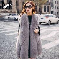 Real Fur Vest Women Female Leather Jacket Ladies Natural Fox Fur Vest Coat 2017 Fashion Long Genuine Fox Fur Gilet Waistcoat
