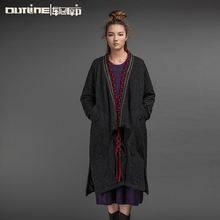 Outline Brand Vintage Coat National Trend Long Trench Cotton Overcoat Thickening Wadded Warm Jacket Womens Winter CoatL154Y019