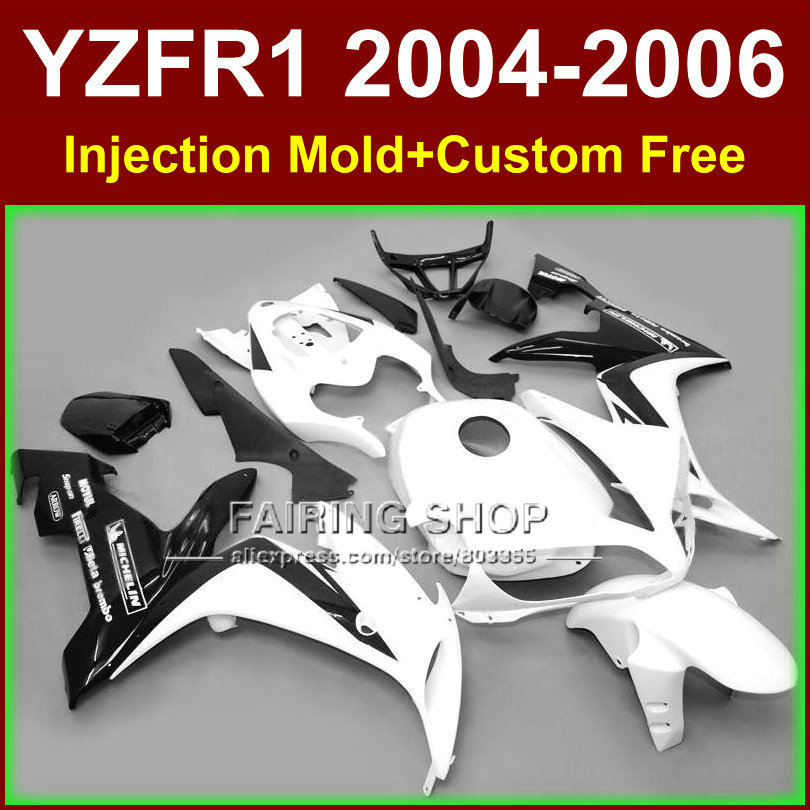 7gifts ABS motorcycle Injection molding fairings for YAMAHA R1 2004 2005 2006 YZF R1 YZF1000 04 05 06 white black fairing kits arashi r1 new throttle cable for yamaha yzf r1 04 06 2004 2005 2006 stainless rubber cables wire line r1 motorcycle accessories