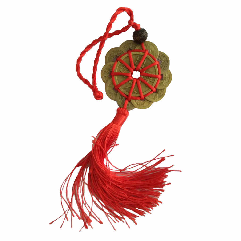 Prosperity Protection Set of 10 FENG SHUILucky Charm Ancient  Coins  red lucky knot copper money #007