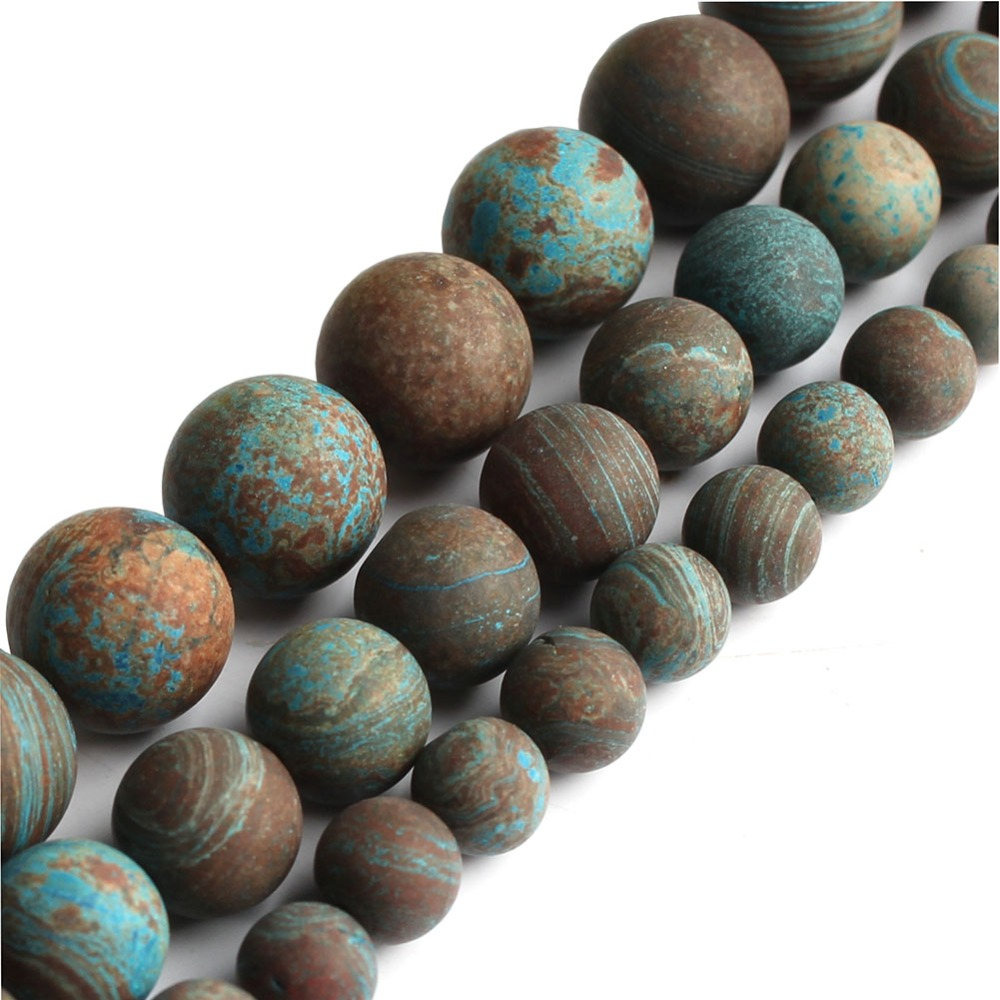 Dull polish matte DIY Natural  Sea stripe stone Round Loose Beads For Jewelry Making Bracelet 15 inches 6810mm Jewelry
