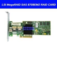 עבור LSI MegaRAID SAS 8708EM2 8 יציאת PCI E מערך כרטיס תומך RAID0 1 סוללה