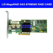 ل LSI MegaRAID SAS 8708EM2 8 port PCI E صفيف بطاقة يدعم RAID0 1 بطارية