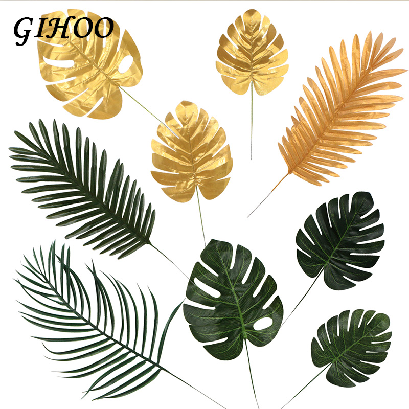 5pcs Gold Green High Quality Fake Leaf Artificial Tropical Palm Leaves Diy Plant Home Party Wedding Table Desk Decoration Supply