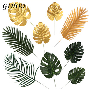Image 2 - 5pcs Gold Green High Quality Fake Leaf Artificial Tropical Palm Leaves DIY Plant Home Party Wedding Table Desk Party Decoration