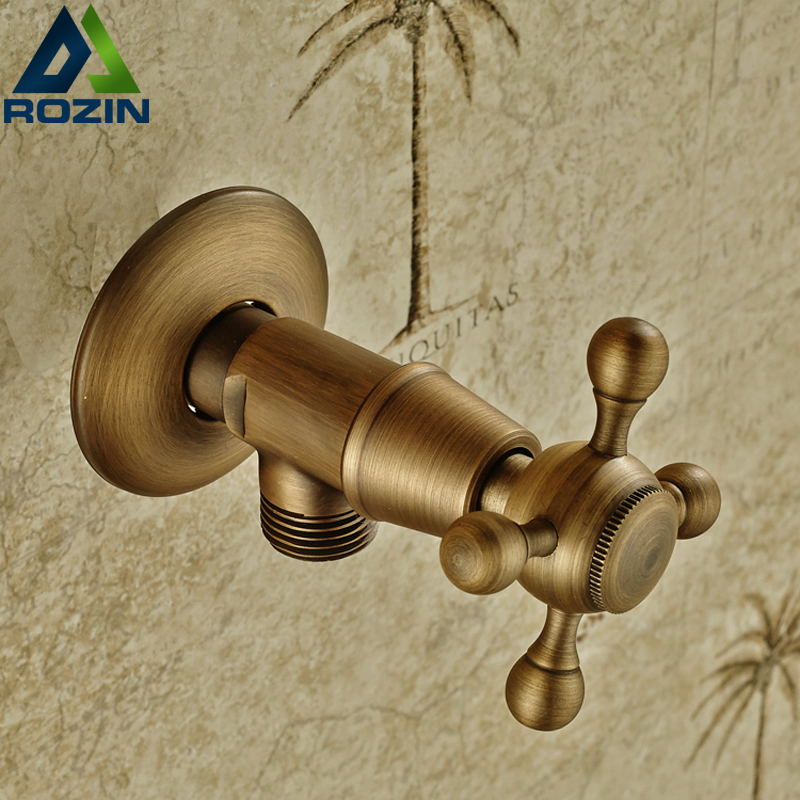 Antique Brass Bathroom Faucet Interface Triangle Angle Valve ...