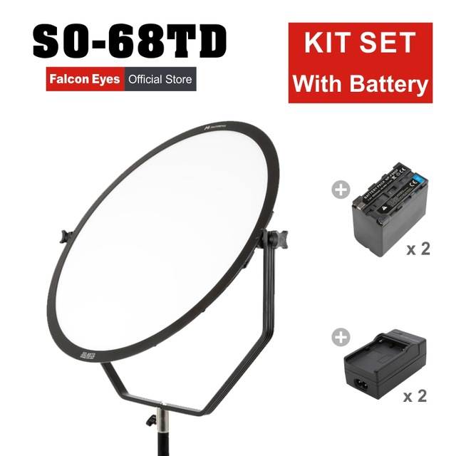цена на Falcon Eyes 68W LED Panel Dimmable High CRI95 3000-5600K Lighting Video Film Studio Photography Continuous Light SO-68T kit CD50