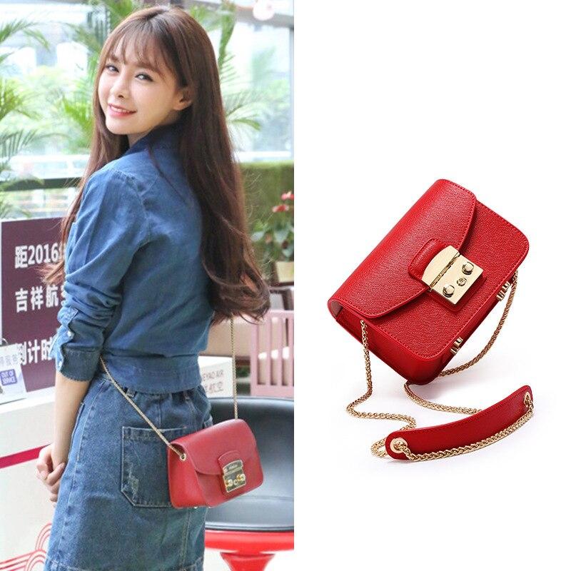 pu small clutch women handbag package  single shoulder bag with metal chain