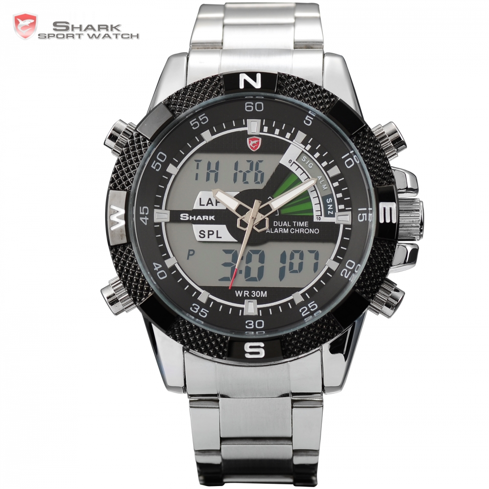 SHARK Sport Watch Dual Time Analog Digital Date Alarm Clock Chronograph Full Stainless Steel Strap Racing Men Wristwatch / SH047 shark sport watch analog alarm auto date