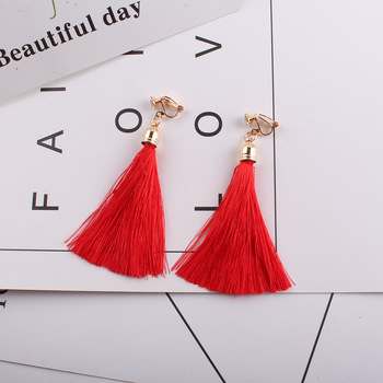 Fiber Tassel Clip on Earrings for Women 17 color Bridal Bohemia Fashion Wedding Jewelry