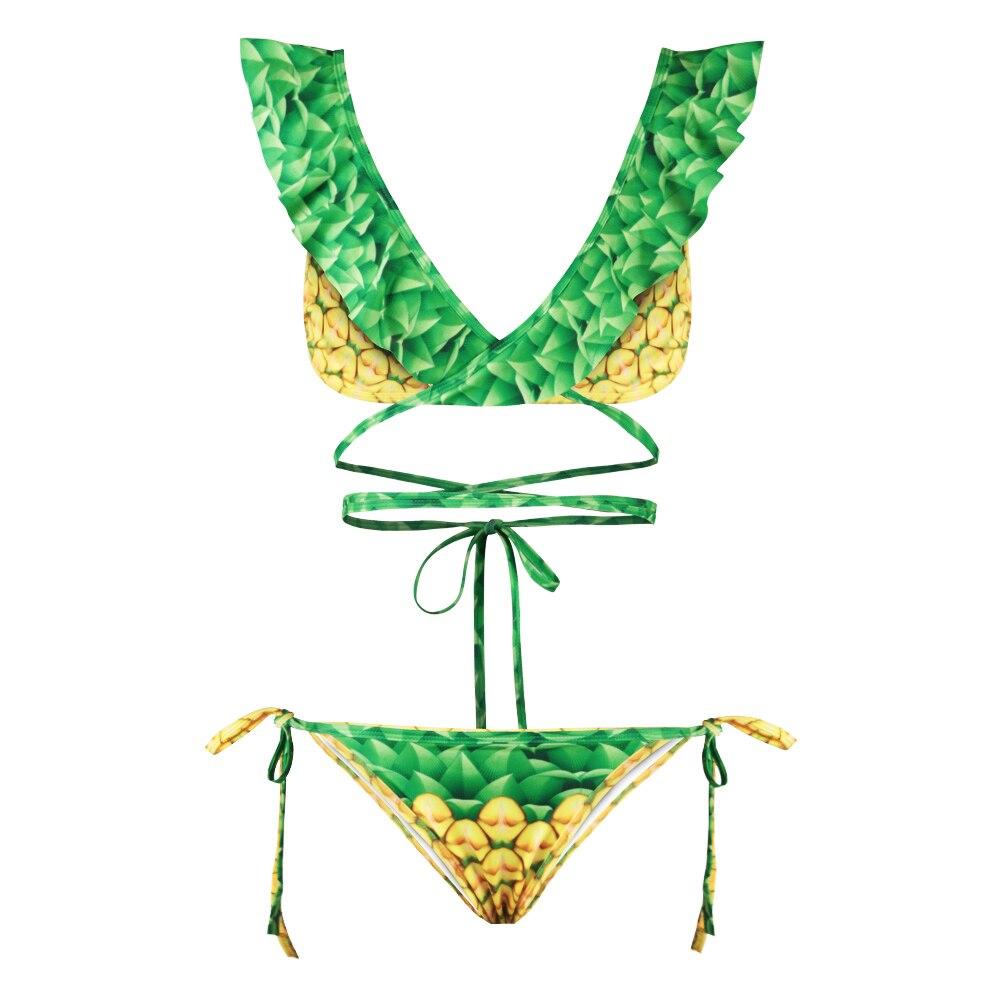 6fc2760dcc Sexy Women Swimsuit Bandage Bikinis Set Pineapple Fruit 3D Print 2 Pieces  Swimwear Padded Bikini Beach Holiday Bathing Suit Swim-in Bikinis Set from  Sports ...