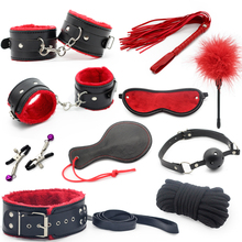 10pcs/set Adult Games sex toy soft Leather sexy toys Sex Toys For Couples Slave bondage handcuffs nipple clamps whip gag paddle