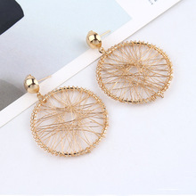 Women Version Of The Simple Design Sense Gold Geometric Round Thread Winding Exaggerated Pendant Drop Earrings Jewelry