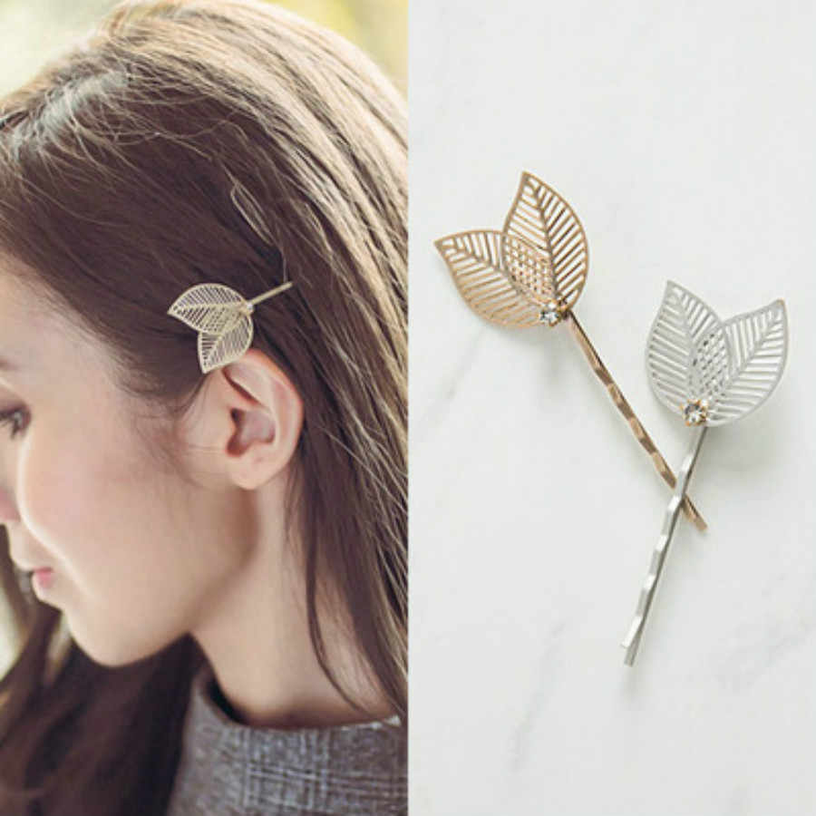 1Pc Fashion Hollow Leaves Pearl Hair Clip Barrettes Crystal Pearl Hairpin Barrette Color Feather Hair Claws Hair Styling Tool