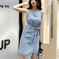 Fashionable Streetwear 2019 Summer Korean Style Lace Up Decoration Women Denim Dress Casual Irregular Sleeveless Ladies Dress