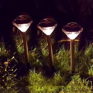 Image 4 - 10 แพ็คสนามหญ้าพลังงานแสงอาทิตย์สำหรับตกแต่งสวนสแตนเลสกลางแจ้งพลังงานแสงอาทิตย์ Powered เพชร Stake ไฟ LED โคมไฟพลังงานแสงอาทิตย์โคมไฟ