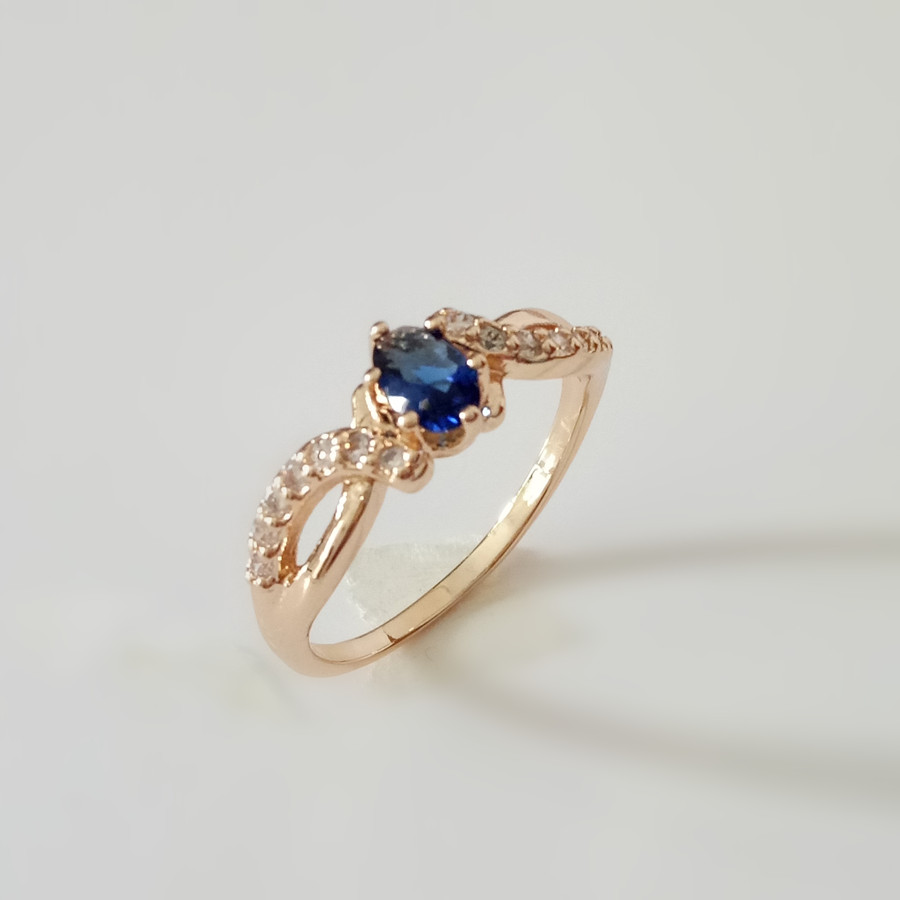 New Fashion Women Wedding Jewelry Rings Trendy Rose Gold Color Jewellery Engagement Gold Color