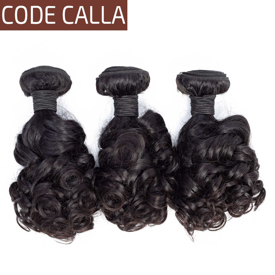 Code Calla Brazilian Bouncy Curly Hair Extensions Weave Bundles 100% Remy Human Hair Natural Black Color Bundles Weft For Women