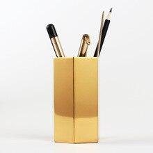 Dokibook Golden brass pen holder stainless steel metal desk accessories penholder office decoration creative present stationery
