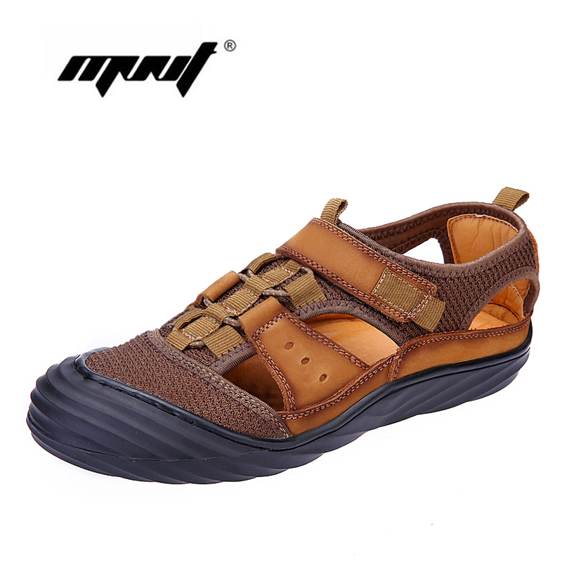 Genuine Leather Summer Soft Men Sandals Shoes Super Breathable Casual Quality Summer Shoes High Quality Mesh Men Shoe