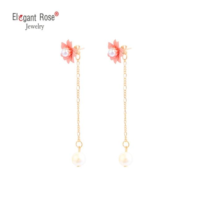 2018 New Simple Style Fashion Jewelry  Earrings Drop Long Tassel Earrings Imitation Pearl Bell Zircon For Women/Girls Pendientes