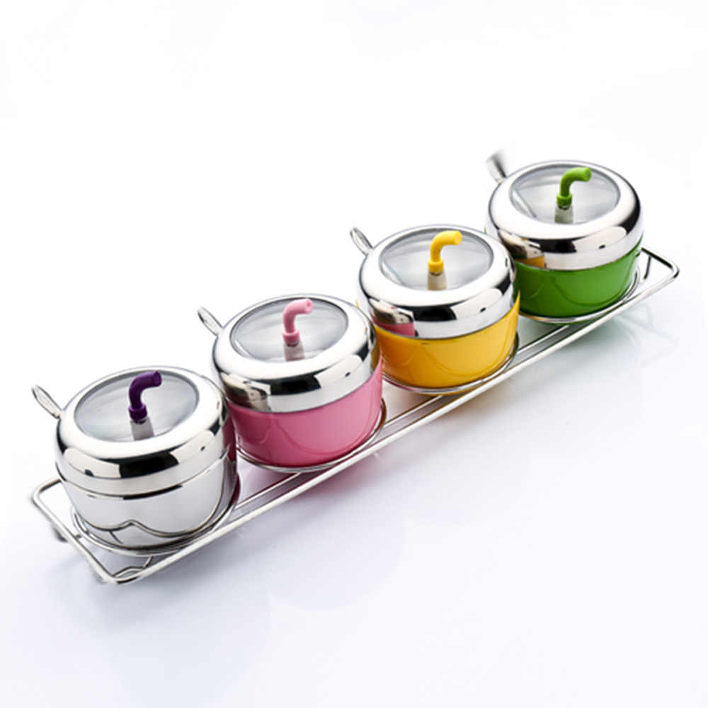 Stainless Steel Spice Jar Seasoning Box Kitchen Spice Boxes Dispenser Containers For Storage  Containers Colorful Apple KC1136