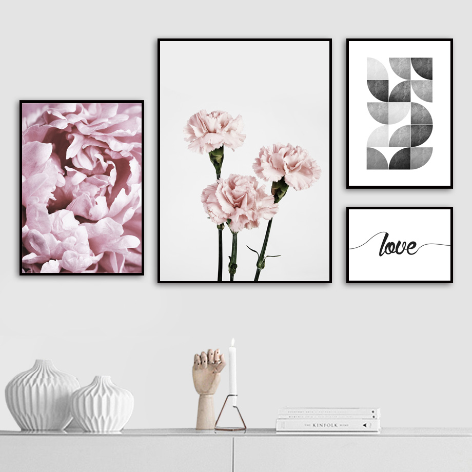 Carnations Peony Flower Quotes Landscape Wall Art Canvas Painting