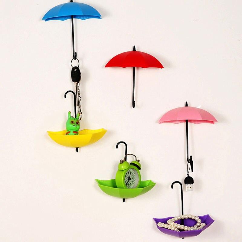 ᗐ1 Unidades/3 unids colorido creativo paraguas diseño Ganchos stick ...